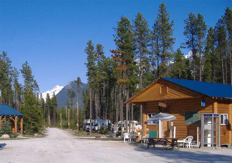 The Blue River Campground, Blue Skys, Snow-topped Mountains and Pine-Trees